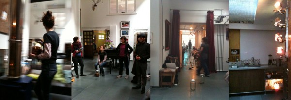 Rehearsals in the main space, kitchen and shop