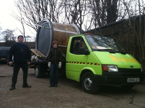 Robert (from Robert & Jacky Removals) and Lisa setting off from Hackney Wick with the Mobile Porch