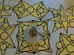 Stars printed on yellow summer blankets.